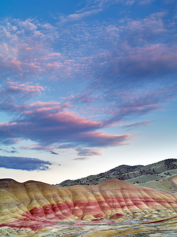 Sunset over Painted Hills. John Day Fossil Beds National Monument. Oregon