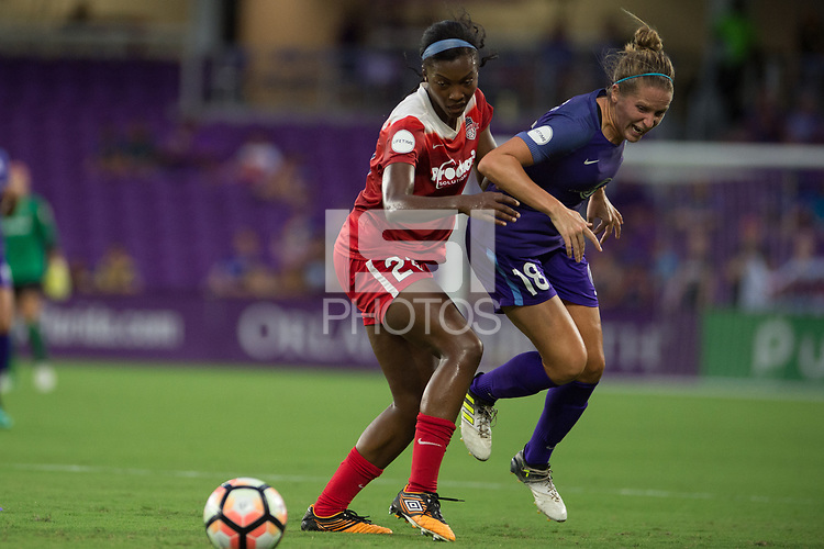 Orlando, FL - Tuesday August 08, 2017: Cheyna Williams, Maddy Evans during a regular season National Women's Soccer League (NWSL) match between the Orlando Pride and the Chicago Red Stars at Orlando City Stadium.