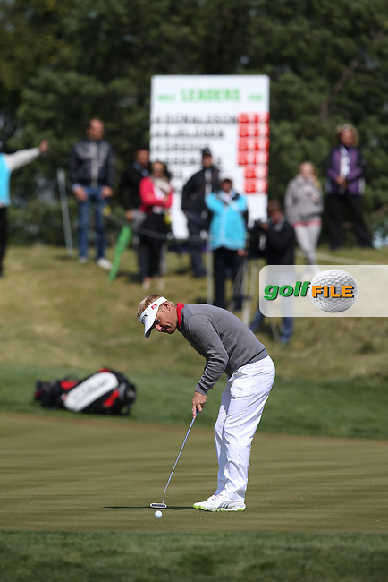 Soren Kjeldsen (DEN) sinks a birdie on the 5th during the Final Round of the D&D Real Czech Masters 2014 from the Albatross Golf Resort, Vysoky Ujezd, Prague. Picture:  David Lloyd / www.golffile.ie