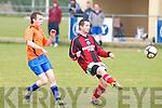 Kilflynn Santos JP McElligott clears the ball from Annascaul FC's Maurice O'Donnell at Mounthawk park, Tralee on Sunday.