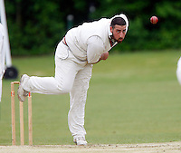J Azar bowls for Wembley during the Middlesex County Cricket League Division Three game between Hornsey and Wembley at Tivoli Road, Crouch End, London on Sat May 29, 2010