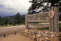 Rocky Mountains, Beaver Meadows, CO, Colorado, Entrance sign to Rocky Mountain National Park in Beaver Meadows.