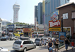 City of Niagara Falls, Ontario, Canada - 01 August 2006---Downtown with buildings and shops, street scenery---architecture, infrastructure---Photo: © HorstWagner.eu