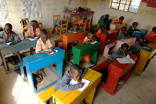 Ranging from 3-5 years of age, the students of the Early Childhood Development school at Pepo La Tumaini Jangwani begin their finals on Tuesday, July  29, 2008, in Isiolo, Kenya.  (Photo by Bryce Yukio Adolphson, © 2008)