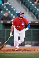 Buffalo Bisons first baseman Rowdy Tellez (21) at bat during a game against the Syracuse Chiefs on May 18, 2017 at Coca-Cola Field in Buffalo, New York.  Buffalo defeated Syracuse 4-3.  (Mike Janes/Four Seam Images)