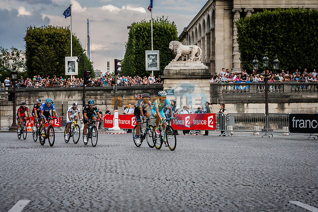 Last 500m with Maxim Iglinskiy (KAZ) of Astana Pro Team, Tour de France, Stage 21: Évry > Paris Champs-Élysées, UCI WorldTour, 2.UWT, Paris Champs-Élysées, France, 27th July 2014, Photo by Pim Nijland