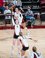 STANFORD, CA - September 2, 2010: Cassidy Lichtman (8)  during a volleyball match against UC Irvine in Stanford, California. Stanford won 3-0.