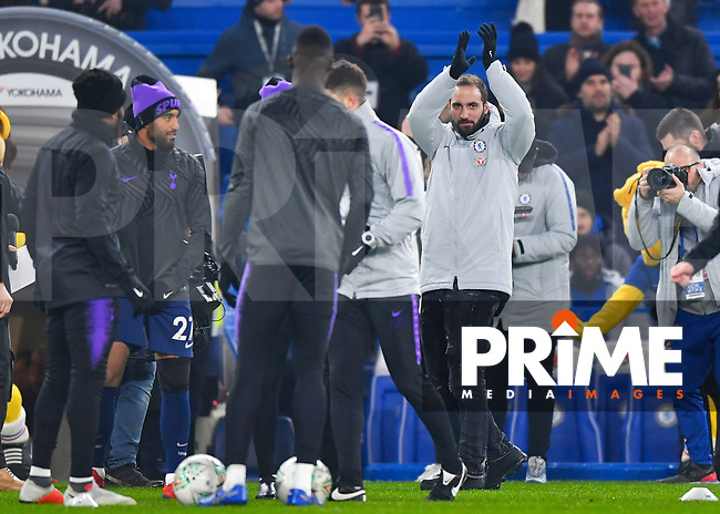 Gonzalo Higuain of Chelsea is presented to the fans during the Carabao Cup Semi-Final 2nd leg match between Chelsea and Tottenham Hotspur at Stamford Bridge, London, England on 24 January 2019. Photo by Vince  Mignott / PRiME Media Images.