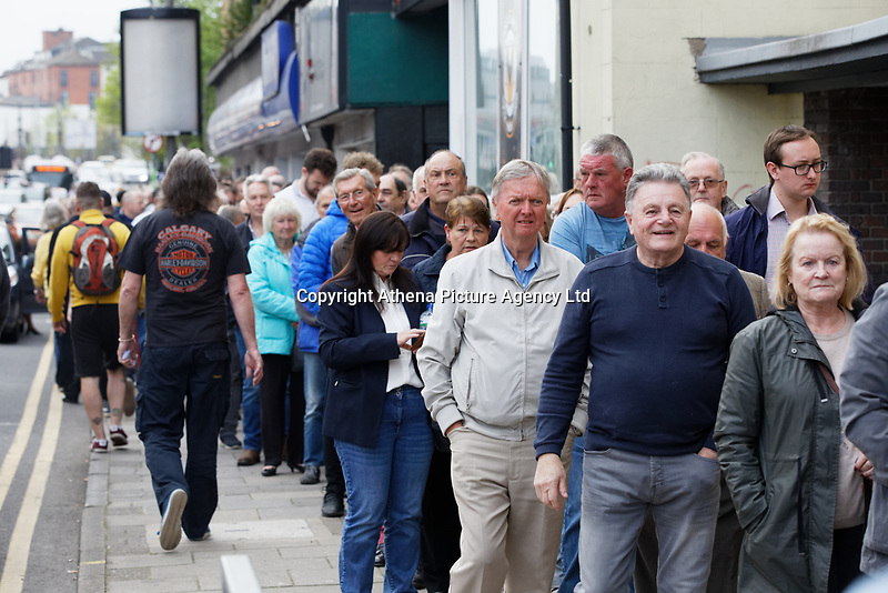 Pictured: A queue of supporters outside the venue. Tuesday 30 April 2019<br /> Re: Nigel Farage and Anne Widdecombe at the Brexit Party rally at The Neon in Clarence Place in Newport, south Wales, UK.