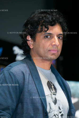 "Director M. Night Shyamalan attends the talk show of the mystery drama ""Wayward Pines"" at the United Cinemas in Toyosu area on May 21, 2015, Tokyo, Japan. Dillon and Shyamalan are in Japan to promote simultaneous worldwide launch of the mystery drama through the FOX channel. Wayward Pines is an American television series based on the novel Pines by Blake Crouch. (Photo by Rodrigo Reyes Marin/AFLO)"