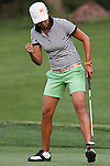 Sophia Sheridan reacts after making her putt on the 16th hole during Alliance Bank Golf Classic in Syracuse NY.
