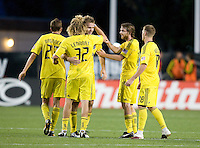 Crew teammates celebrates with Chad Marshall of the Crew after Marshall scored a goal during the second half of the game against the Earthquakes at Buck Shaw Stadium in Santa Clara, California.  San Jose Earthquakes tied Columbus Crew, 2-2.