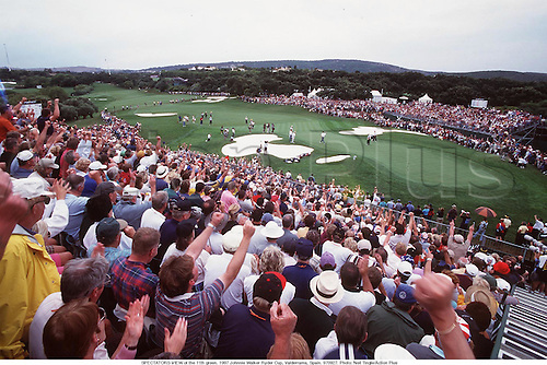 SPECTATORS VIEW of the 11th green. 1997 Johnnie Walker Ryder Cup, Valderrama, Spain. 970927. Photo: Neil Tingle/Action Plus...golf.course courses.venue venues.1997.crowd crowds.gallery.spectator