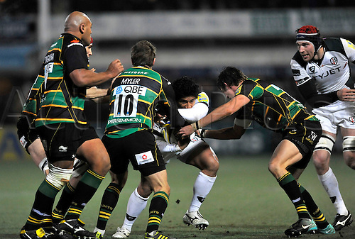 26.11.10. Saints hold back Elvis Seveali i of London Irish Aviva Premiership Rugby Round 9 Northampton Saints vs London Irish at Franklin s Gardens, Northampton, England