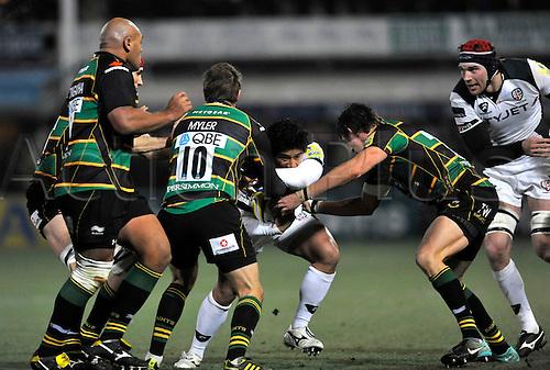 26.11.10. Saints hold back Elvis Seveali i of London Irish Aviva Premiership Rugby Round 9 Northampton Saints vs London Irish at Franklin s Gardens, Northampton, England