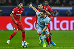 06.11.2019, BayArena, Leverkusen, GER, CL, Bayer 04 Leverkusen vs Atletico Madrid, UEFA regulations prohibit any use of photographs as image sequences and/or quasi-video <br /> <br /> im Bild v. li. im Zweikampf Kevin Volland (#31, Bayer 04 Leverkusen) Hector Herrera (#16, Atletico Madrid) <br /> <br /> Foto © nordphoto/Mauelshagen
