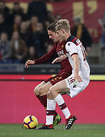 Football, Serie A: AS Roma - Bologna FC, Olympic stadium, Rome, February 18, 2019. <br /> Roma's Nicol&ograve; Zaniolo (l) in action with Bologna's Filip Helander (r) during the Italian Serie A football match between AS Roma and Bologna FC at Olympic stadium in Rome, on February 18, 2019.<br /> UPDATE IMAGES PRESS/Isabella Bonotto