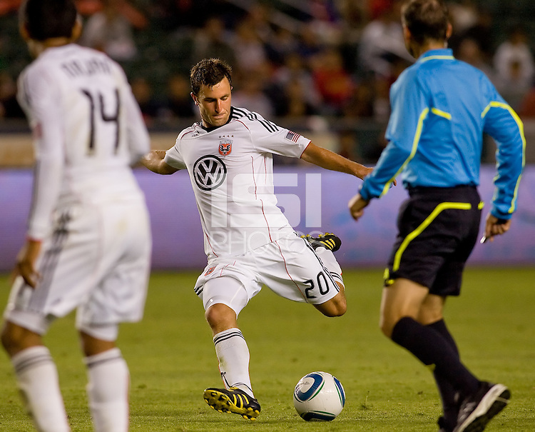 DC United midfielder Stephen King lets one loose on goal. CD Chivas USA beat DC United 1-0 at Home Depot Center stadium in Carson, California on Sunday August 29, 2010.