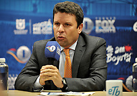 BOGOTA - COLOMBIA - 18 – 01 – 2018: Oscar Gomez, Vicepresidente Produccion y Programacion de Fox Sports Colombia, durante rueda de prensa del Torneo Fox Sports 2018, en el estadio Nemesio Camacho El Campin de la ciudad de Bogota. / Oscar Gomez, Vice President of Production and Programming of Fox Sports Colombia, during a press conference at the Fox Sports 2018 Tournament, at the Nemesio Camacho El Campin stadium in the city of Bogota. Photo: VizzorImage / Luis Ramirez / Staff.