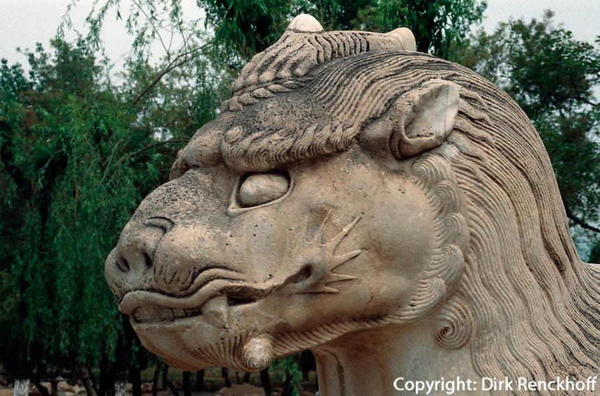 China, Peking (Beijing) Minggräber, Geisterallee, Xiezhie (Einhorn), Unesco-Weltkulturerbe