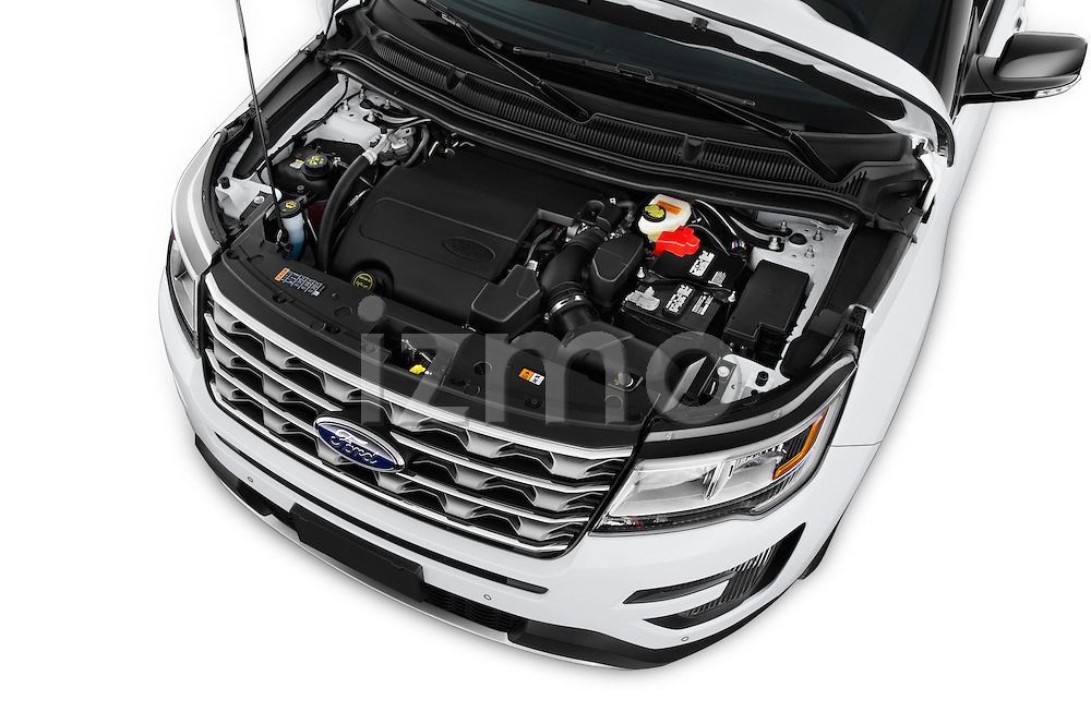 Car Stock 2016 Ford Explorer XLT 4 Door SUV Engine high angle detail view