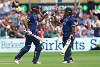 Varun Chopra (L) of Essex celebrates scoring a century, 100 runs with Ashar Zaidi during Essex Eagles vs Glamorgan, NatWest T20 Blast Cricket at The Cloudfm County Ground on 16th July 2017