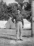 Gettysburg PA: View of Boy's Brigade Officer camping at Gettysburg. Brady Stewart was in Gettysburg with the McKeesport -area Methodist Boy's Brigade. They were in Gettysburg for 40th anniversary of the battle of Gettysburg. The Boy's Brigade was a church-based youth organization started in the late 1800s in Scotland - 1903