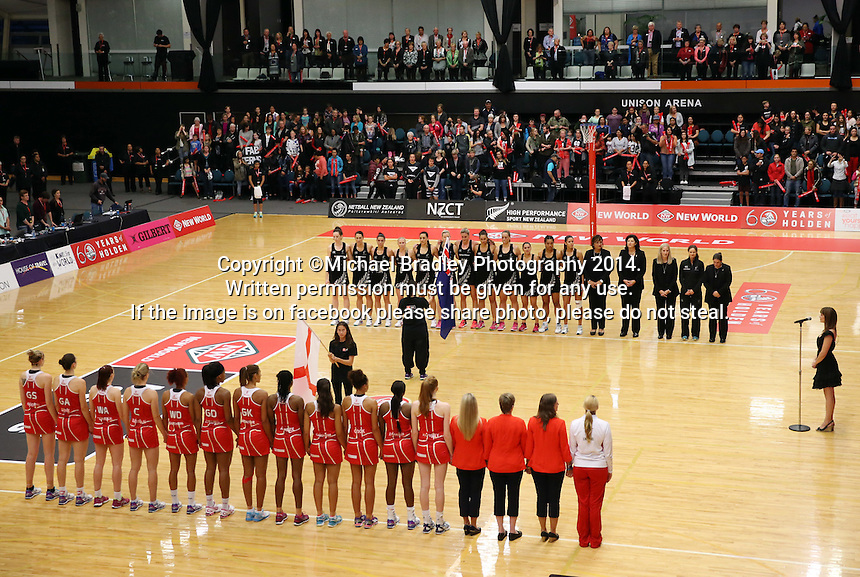 28.10.2014 Action during the Silver Ferns V England netball match played at the Rotorua Events Centre in Rotorua. Mandatory Photo Credit ©Michael Bradley.