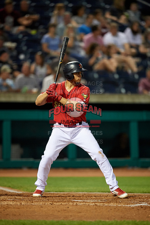 State College Spikes third baseman Stanley Espinal (21) at bat during a game against the West Virginia Black Bears on August 30, 2018 at Medlar Field at Lubrano Park in State College, Pennsylvania.  West Virginia defeated State College 5-3.  (Mike Janes/Four Seam Images)