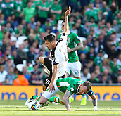 June 11th 2017, Dublin, Republic Ireland; 2018 World Cup qualifier, Republic of Ireland versus Austria;  Zlatko Junuzovic of Austria goes over the tackle from Glenn Whelan (c) of Ireland