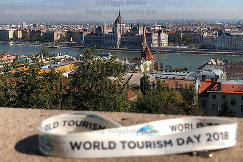 Hungarian Parliament building seen across river Danube from Budapest's landmark Fisherman's Bastion on World Tourism Day in Budapest, Hungary on Sept. 27, 2018. ATTILA VOLGYI