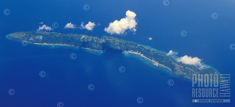 Small island in the Philippine Sea, seen from the air, Philippines
