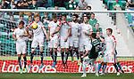 James Keatings smacks the ball off the Raith Rovers wall