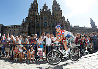 Niki Terpstra passes by the front of the Obradoiro of the Cathedral of Santiago de Compostela before the stage of La Vuelta 2012 between Santiago de Compostela and Ferrol.August 31,2012. (ALTERPHOTOS/Acero)