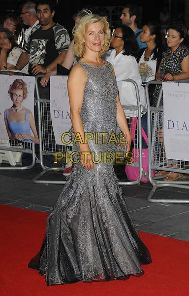 Juliet Stevenson<br /> The World Premiere of 'Diana', Odeon Leicester Square, London, England.<br /> 5th September 2013<br /> film arrivals full length dress maxi fishtail tulle clutch bag grey gray silver lace sleeveless silver peplum <br /> CAP/CAN<br /> &copy;Can Nguyen/Capital Pictures