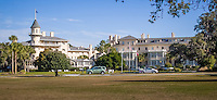The Jekyll Island Club Hotel on Jekyll Island Georgia.  Founded in 1886, the Club was once the private winter retreat of America's wealthiest families with such members as Morgan, Rockefeller, Pulitzer and Vanderbilt.