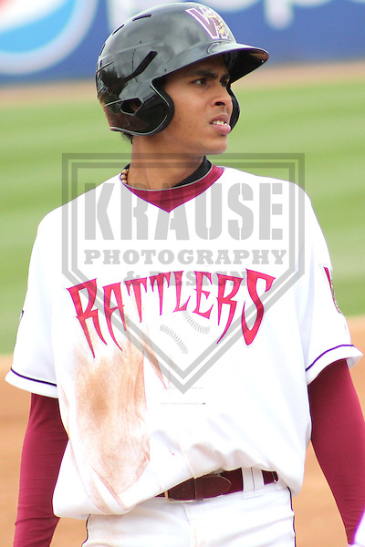 APPLETON - MAY 2011: Yadiel Rivera (13) of the Wisconsin Timber Rattlers, Class-A affiliate of the Milwaukee Brewers, during a game on May 18, 2011 at Fox Cities Stadium in Appleton, Wisconsin. (Photo by Brad Krause) ........
