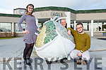 Ally O'Riada, Sharon O'Keeffe and Sean McDermott  from the Gleneagle Hotel with their art sculpture Ucht