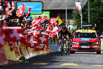 Dylan van Baarle (NED) Team Ineos and Jack Haig (AUS) Mitchelton-Scott race for the finish line of Stage 8 of the Criterium du Dauphine 2019, running 113.5km from Cluses to Champery, Switzerland. 16th June 2019.<br /> Picture: ASO/Alex Broadway | Cyclefile<br /> All photos usage must carry mandatory copyright credit (© Cyclefile | ASO/Alex Broadway)