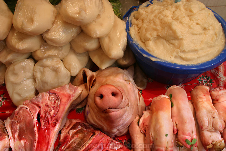 Pig parts and lard for sale in the municipal market, Cuernavaca, Mexico. (From a photographic gallery of meat and poultry images, in Hungry Planet: What the World Eats, p. 165).