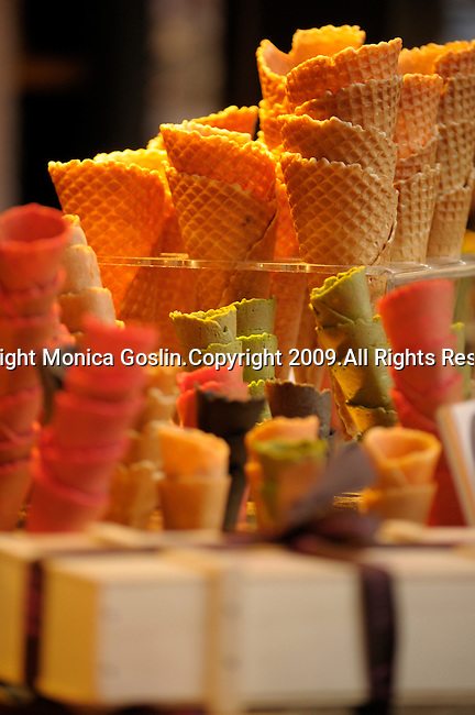 Ice cream cones in the San Miguel Market in Madrid, Spain.