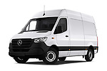 Stock pictures of low aggressive front three quarter view of 2019 Mercedes Benz Sprinter - 2 Door Cargo Van Low Aggressive