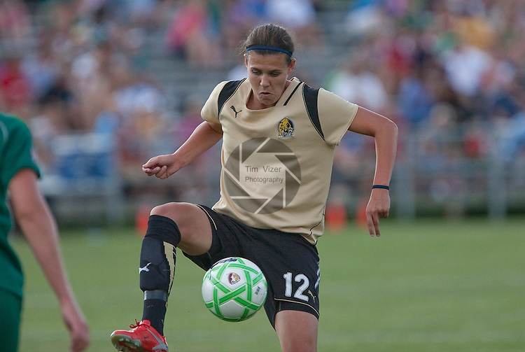 July 26 2009          FC Gold Pride player Christine Sinclair (12) settles the ball passed from a teammate in the first half.  The game ended in a 1-1 tie.     The St. Louis Athletica hosted the FC Gold Pride on Sunday July 26, 2009 at the Anheuser Busch Soccer Park in Fenton, Missouri.   ..            *******EDITORIAL USE ONLY*******