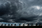 Dark skies over the peloton during Stage 15 of the 2018 Tour de France running 181.5km from Millau to Carcassonne, France. 22nd July 2018. <br /> Picture: ASO/Alex Broadway | Cyclefile<br /> All photos usage must carry mandatory copyright credit (&copy; Cyclefile | ASO/Alex Broadway)