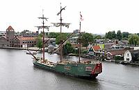Nederland Zaandam 2019. Driemaster Soeverein in de Zaan. Foto Berlinda van Dam / Hollandse Hoogte