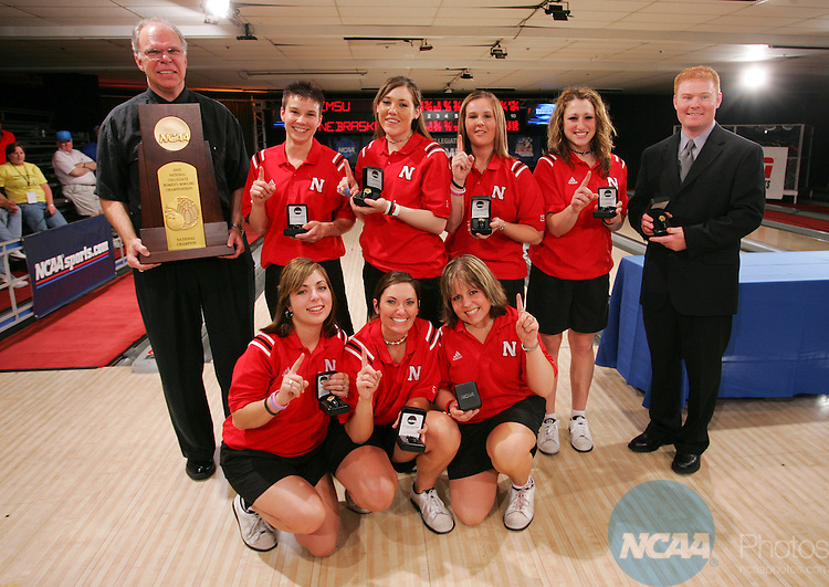 16 APR 2005:  The University of Nebraska celebrates their first place finish during the Division I Women's Bowling Championship held at Wekiva Lanes in Orlando, FL. The University of Nebraska, who won the inaugural title in 2004, repeated as champs with a 4-2 win over Central Missouri State University in the sixth round.  Chris Livingston/NCAA Photos