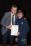St Johnstone FC Academy Awards Night...06.04.15  Perth Concert Hall<br /> Zander Clark presents a certificate to Kyle Woolley<br /> Picture by Graeme Hart.<br /> Copyright Perthshire Picture Agency<br /> Tel: 01738 623350  Mobile: 07990 594431