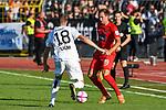10.08.2019, Donaustadion, Ulm, GER, DFB Pokal, SSV Ulm 1846 Fussball vs 1. FC Heidenheim, <br /> DFL REGULATIONS PROHIBIT ANY USE OF PHOTOGRAPHS AS IMAGE SEQUENCES AND/OR QUASI-VIDEO, <br /> im Bild Lennart Stoll (Ulm, #18), Jonas Föhrenbach / Foehrenbach (Heidenheim, #19)<br /> <br /> Foto © nordphoto / Hafner