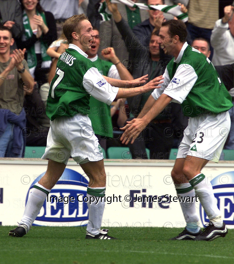 12/08/2001          Copyright Pic : James Stewart .Ref : 673N9256                          .File Name : stewart08-hibs v aberdeen.TOM MCMANUS CELEBRATES THE SECOND GOAL WITH ALEN ORMAN.....James Stewart Photo Agency, Stewart House, Stewart Road, Falkirk. FK2 7AS      Vat Reg No. 607 6932 25.Office : +44 (0)1324 630007     Mobile : + 44 (0)7721 416997.Fax     :  +44 (0)1324 630007.E-mail : jim@jspa.co.uk.If you require further information then contact Jim Stewart on any of the numbers above.........