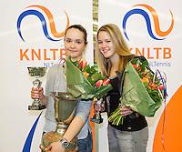 March 15, 2015, Netherlands, Rotterdam, TC Victoria, NOJK, Winner girls 18 years Liza Lebedzeva and runner up Nina Kruijer (R)<br /> Photo: Tennisimages/Henk Koster